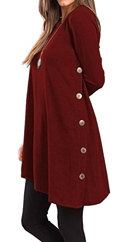 Womens Tops and Blouses Long Sleeves with Buttons (M, Wine Red)