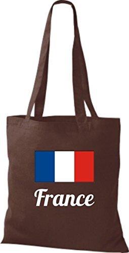 shirtinstyle Bolsa de tela bolsa de algodón länderjute Francia Francia - fucsia, 38 cm x 42 cm Marrón