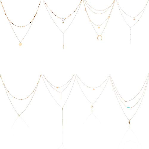 KWHY 8PCS Gold Layered Necklace for Women Girls Sexy Long Choker Chain Y Necklace Bar Feather Pendent Necklace - Set Necklace Bar