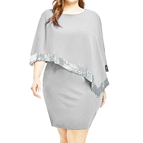 (Plus Size Dress for Women Cold Shoulder Elegant Bodycon Overlay Tulle Sequin Pencil Dress Party Gown Gray)