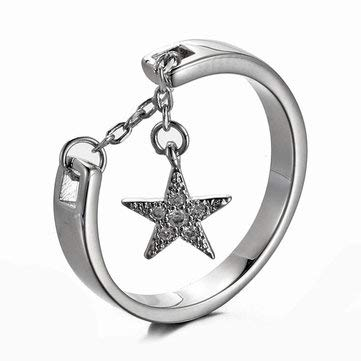 925 Sterling Silver Star Charm Ring Charming Engagement Ring Adjustable Open Silver Ring - Fine Jewelry Fine Rings