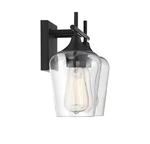 """Savoy House 8-4030-2-BK Octave 2-Light Bathroom Vanity Light in a Black Finish with Clear Glass (14"""" W x 9"""" H) - Applications: Perfect For Use In Bathrooms And Over Vanities. Adds Charm To Any Interior Versatile: LED/CFL/Incandescent Compatible, Holds Two 60 Watt E26 Base BULbs (Not Included) Install Your Way: This Versatile Fixture Can Be Installed Either With Bulbs Pointing Up Or Down - bathroom-lights, bathroom-fixtures-hardware, bathroom - 310NQiX7oeL -"""