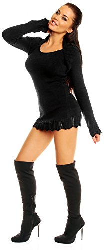 Zeta Ville - Vestido de punto - cuello bolero - Ribete crochet - para mujer 402z Negro