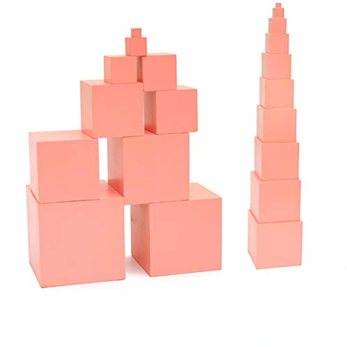 Decimal Tower Activity - Wumudidi Montessori Wooden Pink Tower, Professional Sensory Teaching aids Cubes with Decreasing Length (0-3 Years Old)