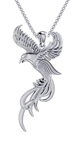 Jewelry Trends Flying Phoenix Sterling Silver Pendant Necklace 18
