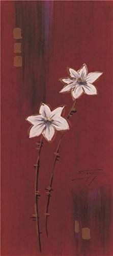The Perfect Effect Canvas Of Oil Painting 'Flowers In Red Background' ,size: 12x27 Inch / 30x69 Cm ,this High Definition Art Decorative Canvas Prints Is Fit For Basement Decoration And Home Decor And Gifts