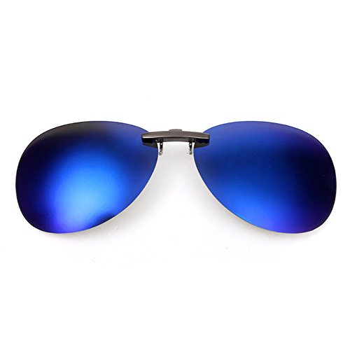 d5eee93a181 Blue   Mens Womens Polarized Clip On Sunglasses Driving Night Vision Anti-UVA  anti-