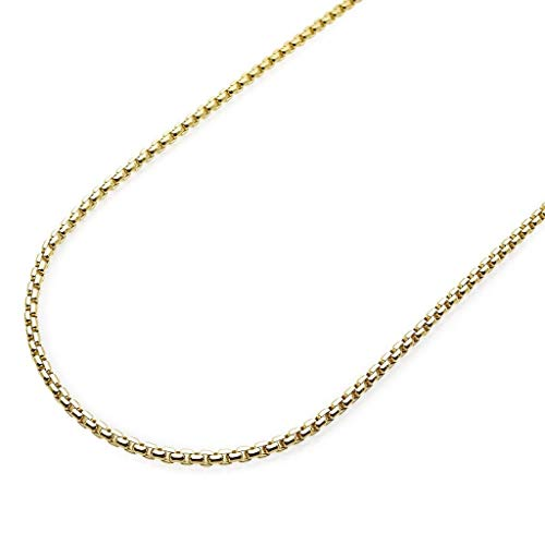 Gold Venetian Necklace 10k Box (Pori Jewelers 10K Yellow Gold 1.8mm Round Box Chain Necklace - Multiple Lengths Available- 10 Karat Gold (24))