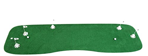 (StarPro 10'x3' 5-Holes Pro-Am Professional Practice Putting Green. Realistic Practice of Your Set-Up and Putts All Over The Green. Not One Boring Direction. Indoor/Patio/Poolside. Lower Your Score!)
