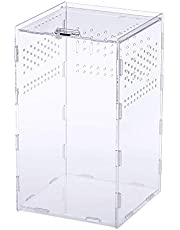 Wowlela Akrylowe pudełko do karmienia gadów przezroczyste pudełko do karmienia owadów na przelotkę, jaszczurkę, skorpion, cencenped, rogową żabę, żabę