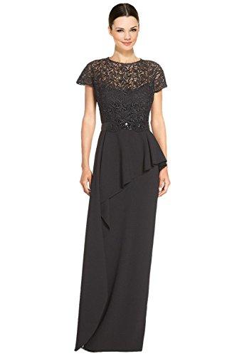 Teri Jon Embellished Lace Bodice Peplum Evening Gown Dress