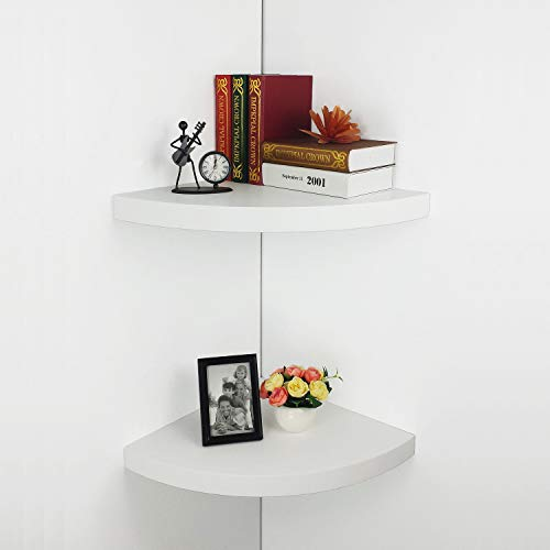 HAO Set of 2 Large Modern Radial Corner Wall Shelves,Corner Shelf MDF Floating Shelving Approx 17