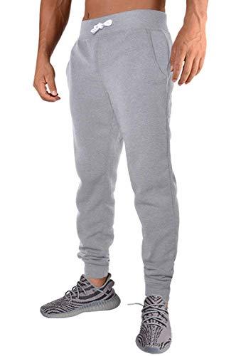 PEGENO Men's Casual Jogger Sweatpants Basic Fleece Jogger Pant Elastic Waist (Light Gray XL)