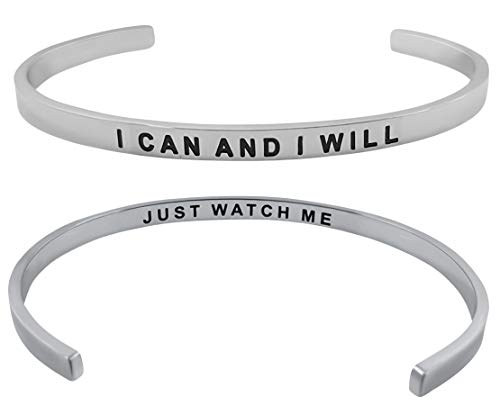 Fearless Affirmation Bracelet - ''I Can and I Will'' Inspirational Mantra Quote Cuff Bangle Bracelet Positive Message Motivational Jewelry Gifts for Women and Teen Girls (Silver)