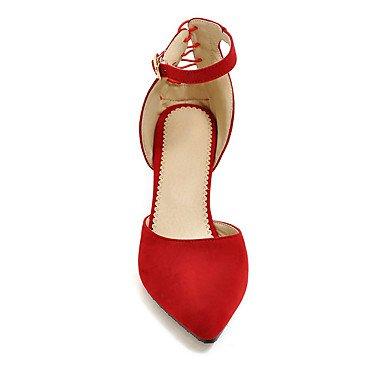 LvYuan Mujer-Tacón Stiletto-Zapatos del club-Sandalias-Boda Vestido Fiesta y Noche-Vellón-Negro Azul Rojo Gris Black