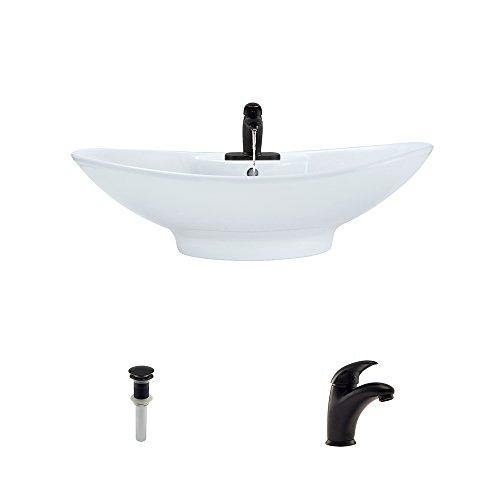 Bronze Ensemble - V2102-White Porcelain Vessel Sink Antique Bronze Ensemble with 722 Vessel Faucet (Bundle - 3 Items: Sink, Faucet, and Pop Up Drain)