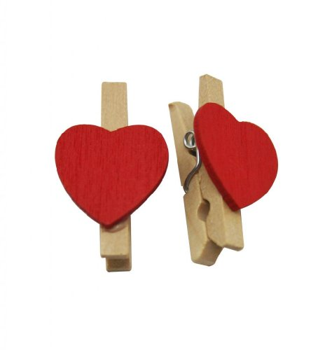 """Generic Natural Wood 1.2"""" Small Clothespins with Spring and Red Heart-shaped Pack of 80"""