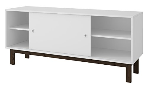 Manhattan Comfort Solna TV Stand Collection Free Standing Contemporary TV Stand with 4 Shelves and 1 Sliding Door on Wooden Legs, 53' L x 15' D x 23' H, White