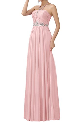 Prom Bride Summer Pleated Pink Dress Dress Long Grace Angel Beach Chiffon Halter 0gRd0nT