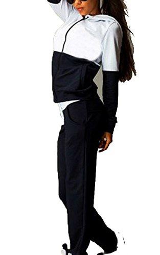 CRAVOG Chándal para Mujer de Casual Deportivos Chaqueta Pullover Sudadera y Pantalones Negro
