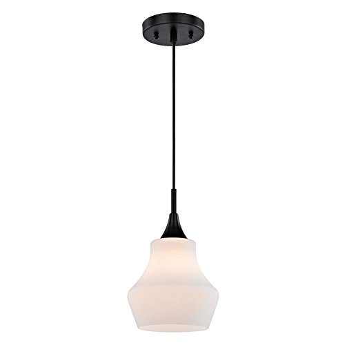 Westinghouse Lighting 6309500 One-Light Indoor Mini Pendant, Matte Black Finish with Frosted Opal Glass Contemporary Matte Opal Glass