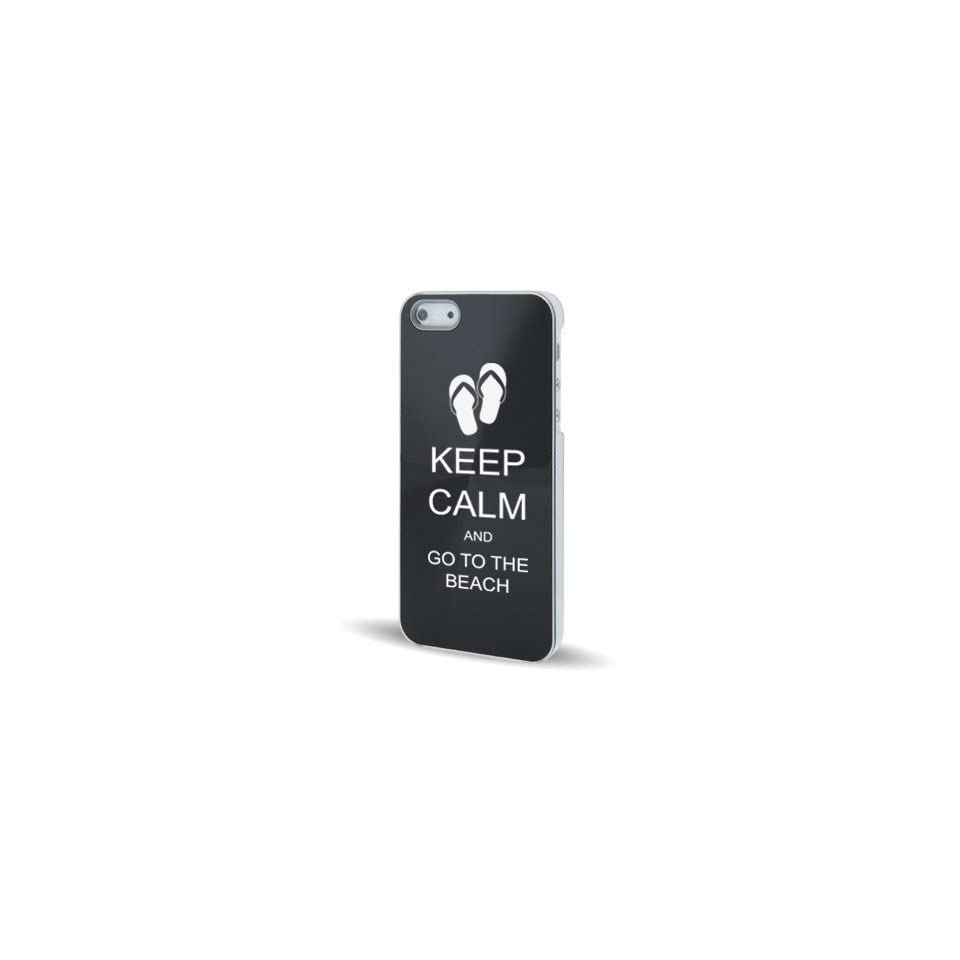 Apple iPhone 5 5S Black 5C625 Aluminum Plated Hard Back Case Cover Keep Calm and Go To The Beach Sandals