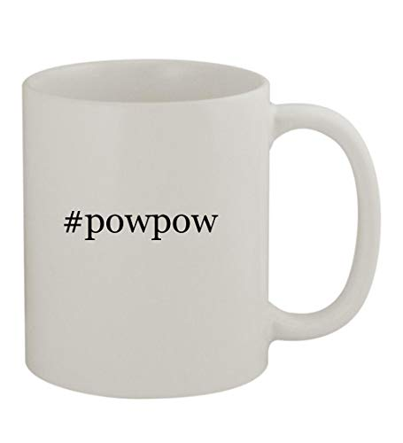 (#powpow - 11oz Sturdy Hashtag Ceramic Coffee Cup Mug, White)
