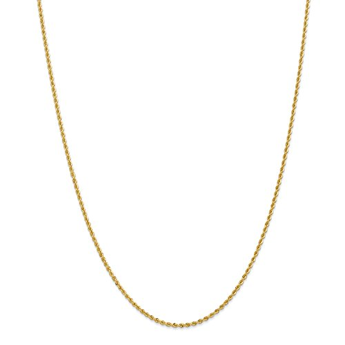 Roy Rose Jewelry 14K Yellow Gold 2mm Handmade Regular Rope Chain Necklace ~ Length 16'' inches - 16' Regular Rope Chain