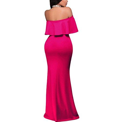 QIYUN.Z Vestido Atractivo Sin Tirantes Del Partido Coctel Vestido Maxi Largo Del Volante Cuello De La Raya Vertical De Las Mujeres Rosa Roja