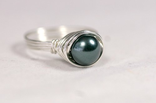 Sterling Silver Tahitian Swarovski Pearl Ring Wire Wrapped Sterling Silver or Gold Filled