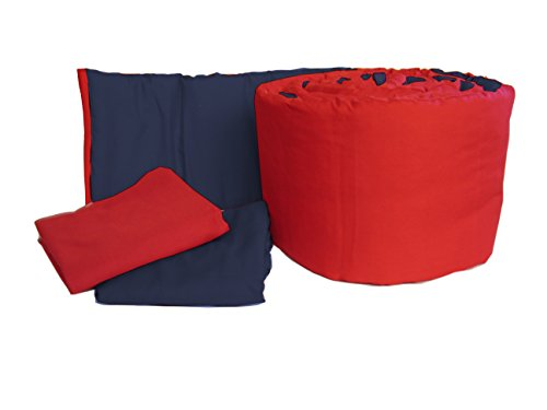 (Baby Doll Bedding Solid Reversible Mini Crib/Portable Crib Bumper and Sheets Set, Navy/Red)