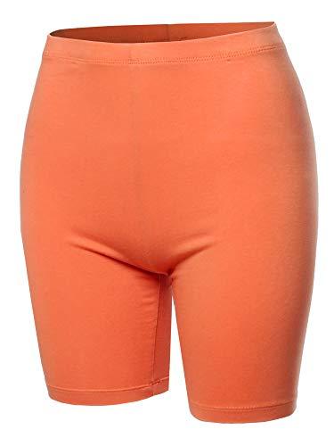 A2Y Basic Solid Cotton Mid Thigh High Rise Biker Bermuda Shorts Deep Coral 1XL