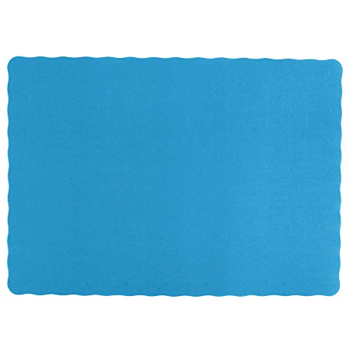 """Color Bulk Paper Placemats for Parties and Christmas Table Decorations, Scalloped Edges Table Mats 10""""x14"""" Inches, Blue 50ct"""