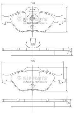 Nipparts J3603065 Bremsbelagsatz Scheibenbremse 4 Teilig Auto