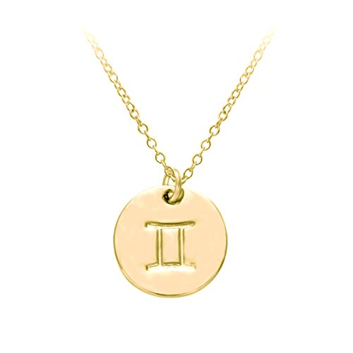 HACOOL 18k Gold Plated 12 Zodiac Sign Tag Constellation Horoscope Astrology Disc Charm Necklace Pendant (Gemini) -