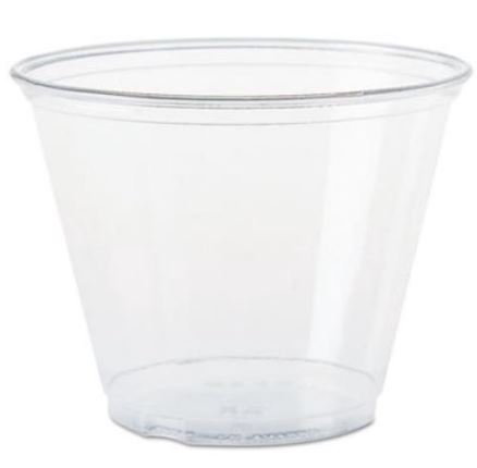 Solo Foodservice TP9R Cold Cup, Clear Squat, 9 oz, Set of 1000 Clear Plastic Squat Cups