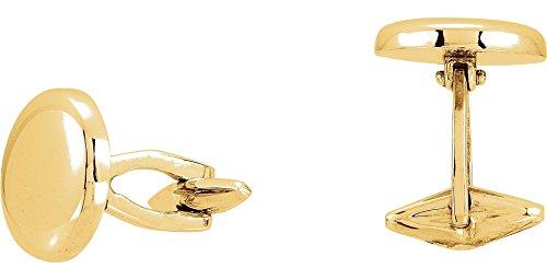 14k Yellow Gold 15.9mm Men's Round Shaped Cuff Links