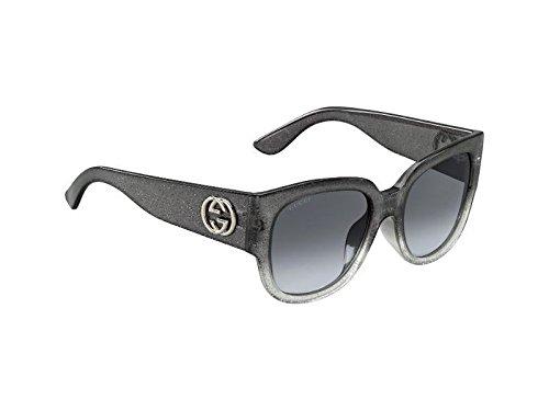GUCCI GLITTER GG3836FS Square Grey Silver ASIAN FIT Sunglasses 3836 - Gucci Asian Fit Sunglasses