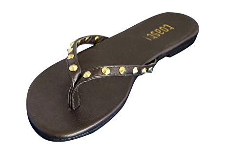 - HK Womens Dress Flip Flops Thong Studded Sandals Faux Leather Silver Gold Accents Shoes (10, Brown/Gold)