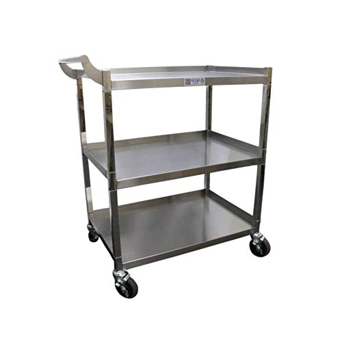 GSW Stainless Steel Solid 1-Inch Tubular Utility Cart with 5-Inch Swivel Casters, 18 by 29-1/2 by 34-Inch NSF - Caster Stainless Swivel