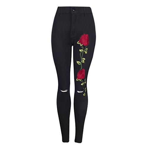 Elástico Alto Grande Bordado De Mezclilla youth® Skinny Vaqueros Negro Leggings Para Ceñidos Pantalones Tiro Mujer Ajustado Pantalón K Slim Talla Jeans Aw1YqOxw