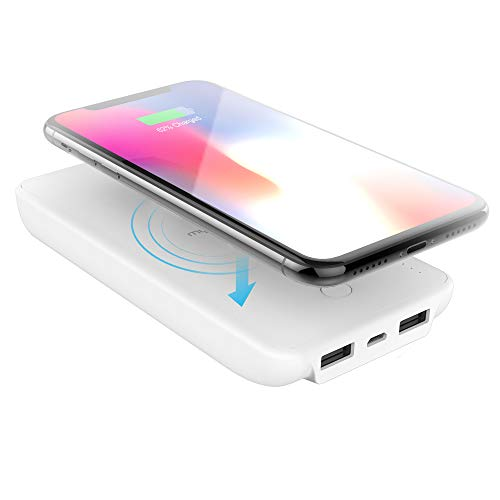 myCharge Wireless Charger Portable Charger Power Bank Dual USB 10W/2.4A/10000mAh Dual Qi Certified for Apple (iPhone XS, XS Max, XR, X, 8, 8 Plus) Android (Samsung Galaxy S8, S8+, Note 8, S7, S6)