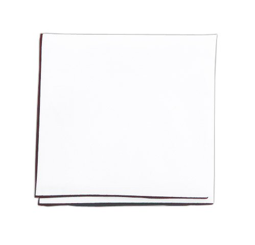The Tie Bar White Cotton Pocket Square with Burgundy Border