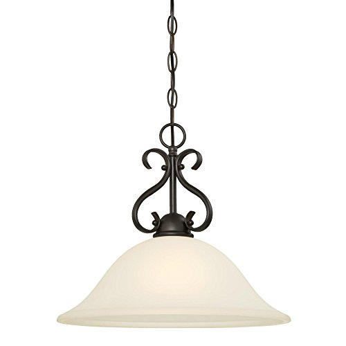 Westinghouse Lighting 6306000 Dunmore One-Light Indoor Pendant, Oil Rubbed Bronze Finish with Frosted Glass, 1