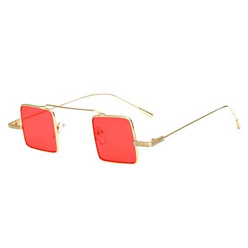 Hzjundasi sol puente delgado de Gafas ojo Golden Colored estilo protección Square gato metal de UV400 Gafas de con de Gafas de Lens Small Candy Red de UXwx1rqU