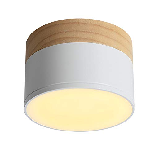 Aisilan LED Flush Mount Downlight, Ceiling Mount Accent Lighting Oak Wood 5W 550lumen 3000k-Warm White Ideal for Hallway Gallery Picture Display Kitchen Livingroom -