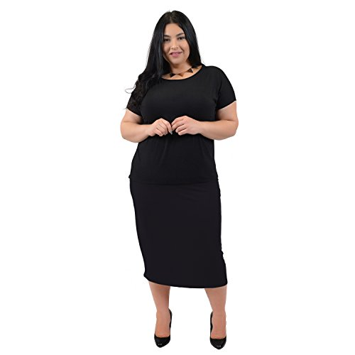 Stretch-is-Comfort-Womens-Plus-Size-Comfortable-Soft-Stretch-MIDI-Skirt