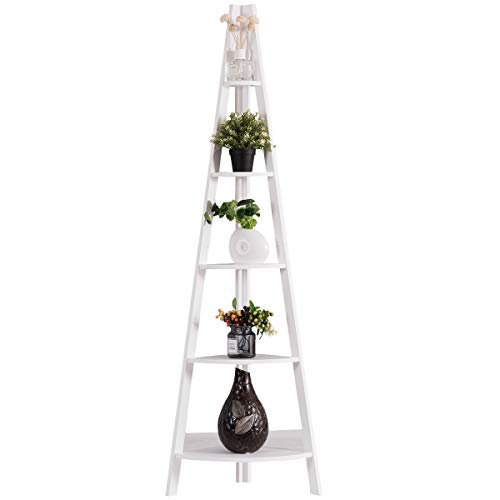 Tangkula 5-Tier Corner Ladder Shelf, Wooden Contemporary Rustic Style Bookshelf, A-Shaped Durable Frame Plant Stand, Storage Rack, Bookcase for Display, Storage in Home Office Living Room Bedroom