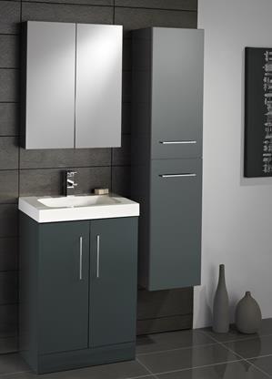 lomond vanity unit including tall boy gloss black bathroom