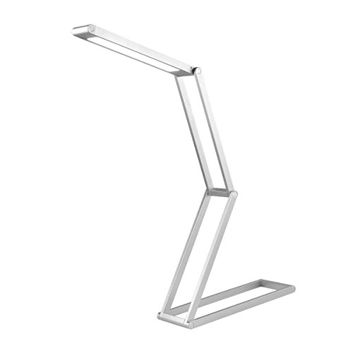 LED Desk Lamp, Toplife Dimmable Eye-Caring Aluminium Alloy Table Lamp, Foldable USB Rechargable Reading Light for Kids&Adults Home Studying Office Working and Camping(Silver) by Toplife